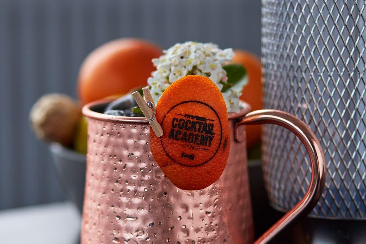 Cocktail med logo fra Copenhagen Cocktail Academy i 2021