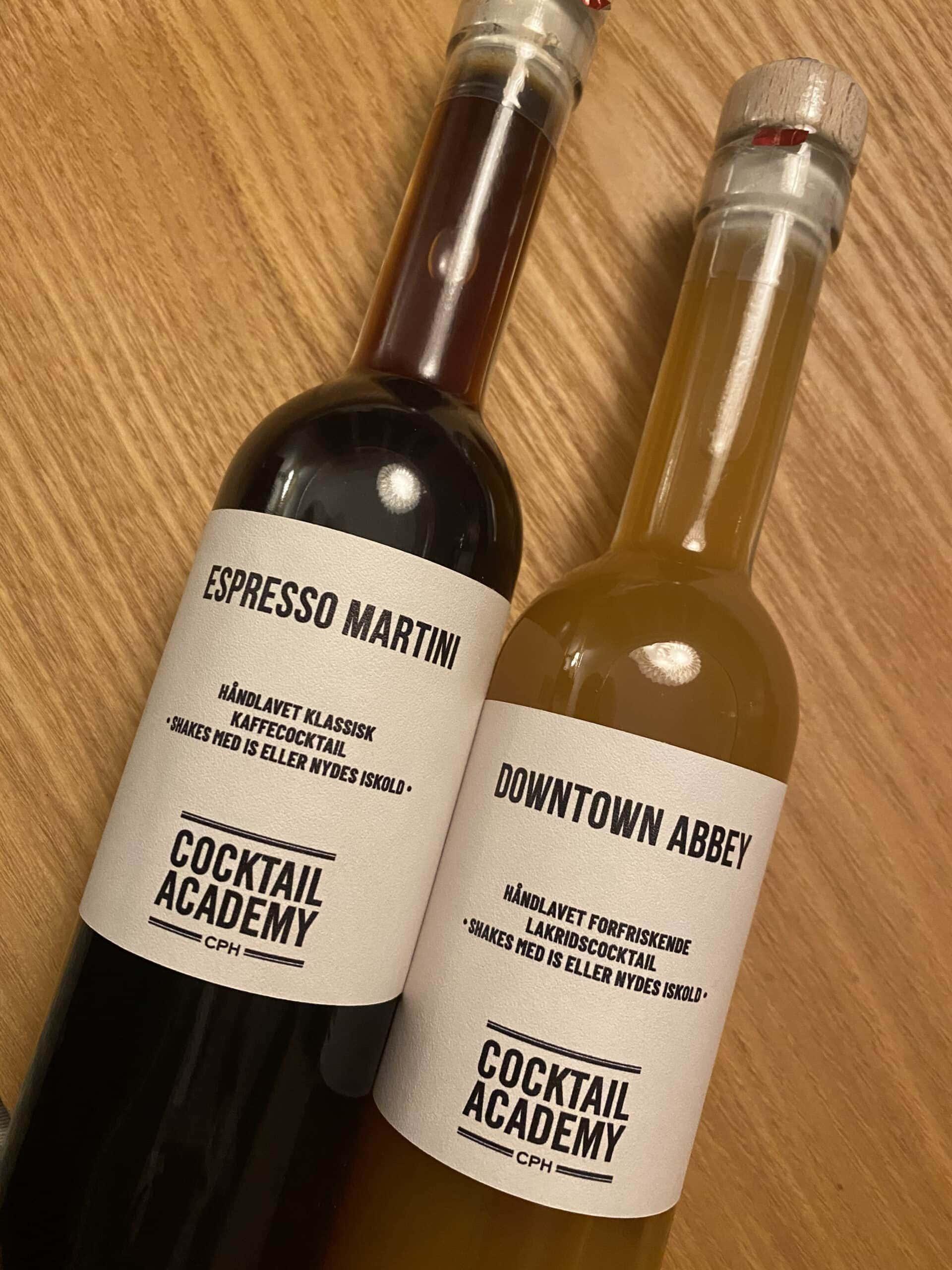 Downtown Abbey og Espresso Martini som cocktails på flaske fra Copenhagen Cocktail Academy